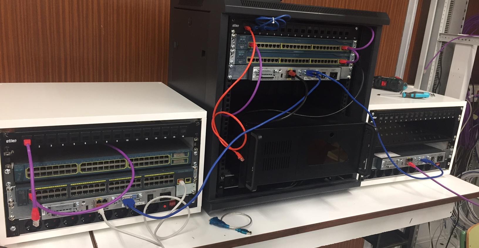 Práctica de redes usando un rack comercial y dos caseros